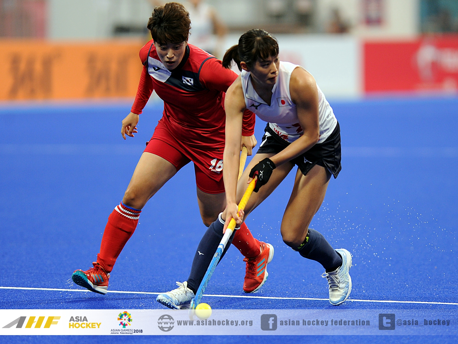 アジア大会準決勝の韓国戦での小野真由美選手。出典元:http://www.asiahockey.org/news/day-11/