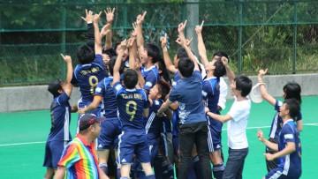 2018年関東春季リーグでの駿河台大学戦。 SO戦を制し、歓喜する東京大学。