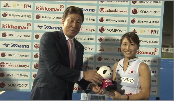 試合で最も活躍した選手に贈られる「SOMPO QUEEN Of the Match」には清水美並選手が選ばれた