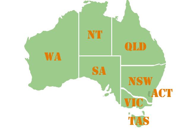 オーストラリアの8つの区分。 出典元:https://au-ryugaku.com/state/