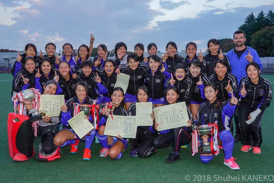 2018年関東学生秋季リーグで49季連続49回目優勝を遂げた山梨学院。写真/金子周平