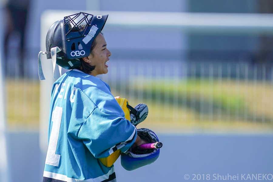 ピンチから幾度も守る慶應義塾GK杉山留菜選手。写真/金子周平