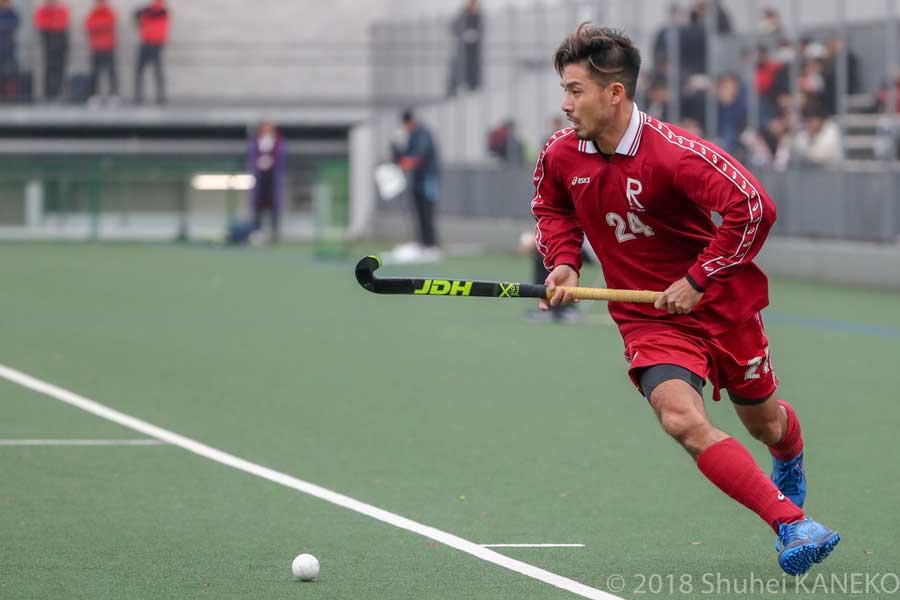 日本リーグファイナルでは、立命館ホリーズで出場した田中健太選手。華麗なドリブルで観客を沸かせた。写真/金子周平