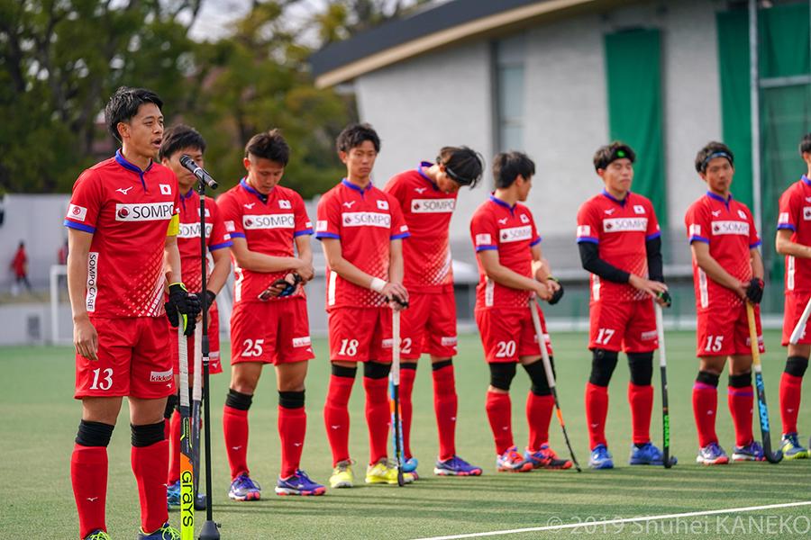試合後、サムライジャパンキャプテンの山下学選手が挨拶。2020年に向け、期待が高まる。