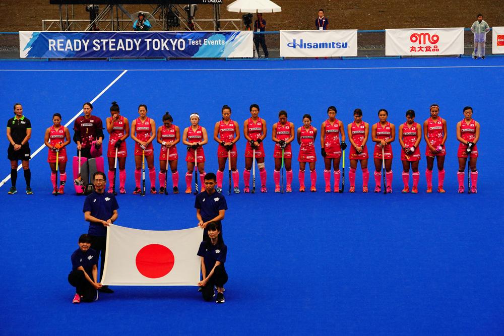 五輪テストイベント「READY STEADY TOKYO」でオーストラリア戦に臨む女子日本代表さくらジャパン 写真/金子周平