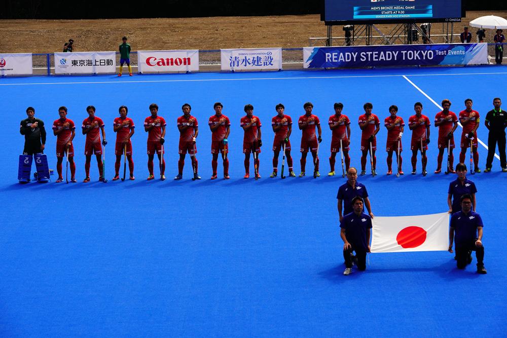 五輪テストイベント「READY STEADY TOKYO」でマレーシアとの試合に臨む男子日本代表サムライジャパン 写真/金子周平