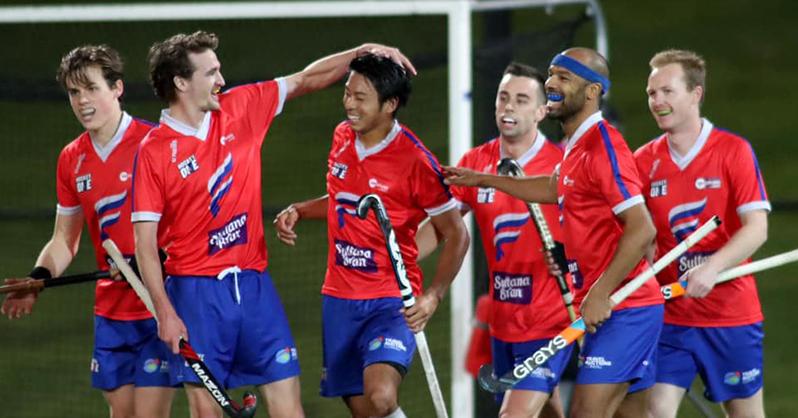 渡辺晃大はオーストラリアリーグでのプレー経験もある(中央) 写真=Hockey One